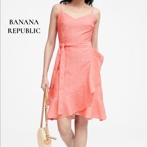 Banana Republic Linen Blend Ruffle-Wrap Dress